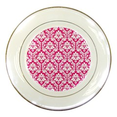 White On Hot Pink Damask Porcelain Display Plate by Zandiepants