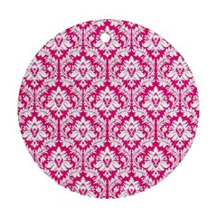 White On Hot Pink Damask Round Ornament (two Sides) by Zandiepants