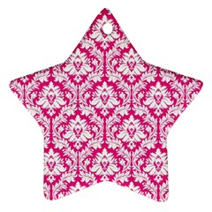 White On Hot Pink Damask Star Ornament (two Sides) by Zandiepants
