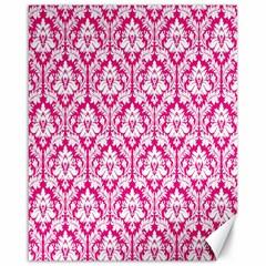 White On Hot Pink Damask Canvas 16  X 20  (unframed) by Zandiepants