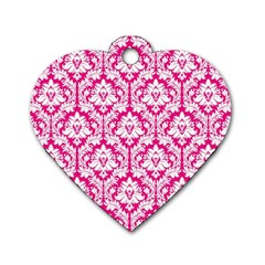 White On Hot Pink Damask Dog Tag Heart (one Sided)