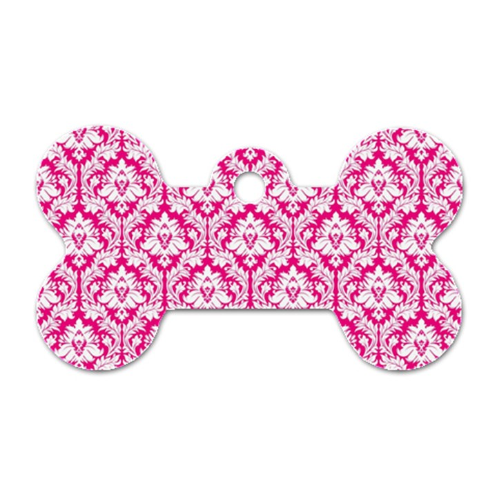 White On Hot Pink Damask Dog Tag Bone (Two Sided)