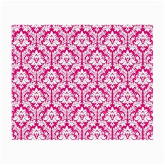 White On Hot Pink Damask Glasses Cloth (small, Two Sided) by Zandiepants