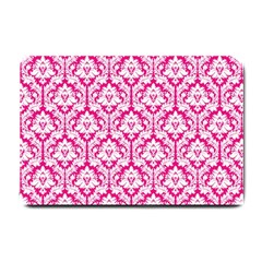 White On Hot Pink Damask Small Door Mat by Zandiepants
