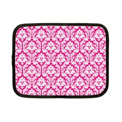 White On Hot Pink Damask Netbook Sleeve (small) by Zandiepants