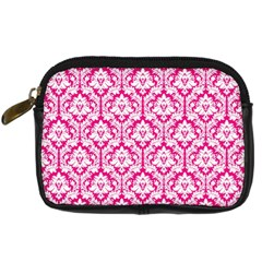 White On Hot Pink Damask Digital Camera Leather Case by Zandiepants