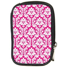White On Hot Pink Damask Compact Camera Leather Case by Zandiepants
