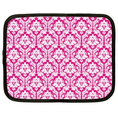 White On Hot Pink Damask Netbook Sleeve (xl) by Zandiepants