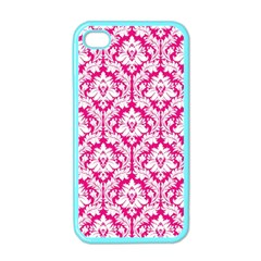 White On Hot Pink Damask Apple Iphone 4 Case (color) by Zandiepants