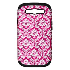 White On Hot Pink Damask Samsung Galaxy S Iii Hardshell Case (pc+silicone) by Zandiepants
