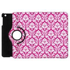 White On Hot Pink Damask Apple Ipad Mini Flip 360 Case by Zandiepants
