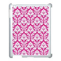 White On Hot Pink Damask Apple Ipad 3/4 Case (white) by Zandiepants