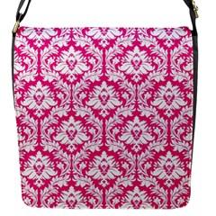 Hot Pink Damask Pattern Flap Closure Messenger Bag (s) by Zandiepants