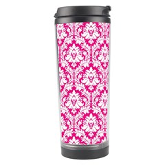 White On Hot Pink Damask Travel Tumbler by Zandiepants