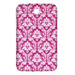 White On Hot Pink Damask Samsung Galaxy Tab 3 (7 ) P3200 Hardshell Case  by Zandiepants