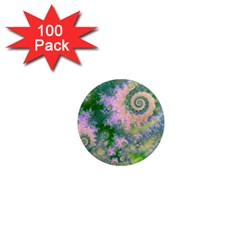 Rose Apple Green Dreams, Abstract Water Garden 1  Mini Button Magnet (100 Pack) by DianeClancy