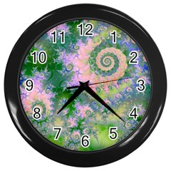 Rose Apple Green Dreams, Abstract Water Garden Wall Clock (black) by DianeClancy