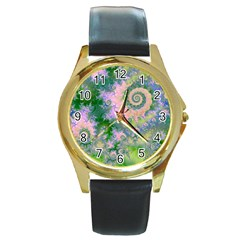 Rose Apple Green Dreams, Abstract Water Garden Round Leather Watch (gold Rim)  by DianeClancy