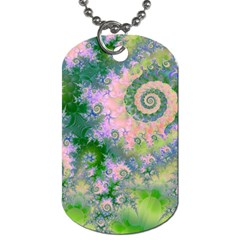 Rose Apple Green Dreams, Abstract Water Garden Dog Tag (two Sided)  by DianeClancy