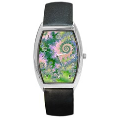 Rose Apple Green Dreams, Abstract Water Garden Tonneau Leather Watch by DianeClancy