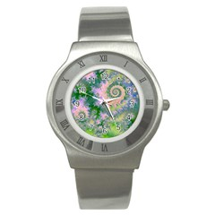 Rose Apple Green Dreams, Abstract Water Garden Stainless Steel Watch (slim) by DianeClancy