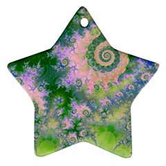 Rose Apple Green Dreams, Abstract Water Garden Star Ornament (two Sides) by DianeClancy