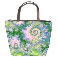 Rose Apple Green Dreams, Abstract Water Garden Bucket Handbag by DianeClancy