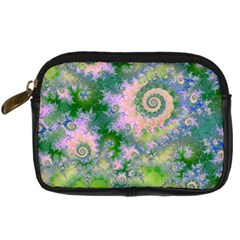 Rose Apple Green Dreams, Abstract Water Garden Digital Camera Leather Case by DianeClancy