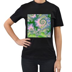 Rose Apple Green Dreams, Abstract Water Garden Women s T Shirt (black)