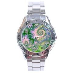 Rose Apple Green Dreams, Abstract Water Garden Stainless Steel Watch by DianeClancy