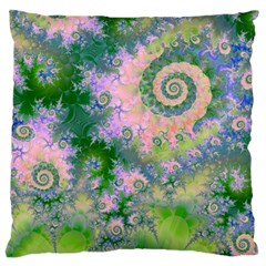 Rose Apple Green Dreams, Abstract Water Garden Large Cushion Case (two Sided)  by DianeClancy