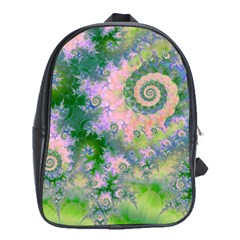 Rose Apple Green Dreams, Abstract Water Garden School Bag (xl) by DianeClancy