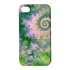 Rose Apple Green Dreams, Abstract Water Garden Apple Iphone 4/4s Hardshell Case With Stand by DianeClancy