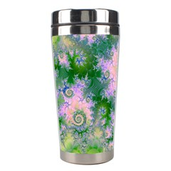 Rose Apple Green Dreams, Abstract Water Garden Stainless Steel Travel Tumbler by DianeClancy