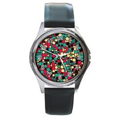 Retro Round Leather Watch (silver Rim) by Siebenhuehner