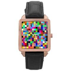 Tapete4 Rose Gold Leather Watch  by Siebenhuehner