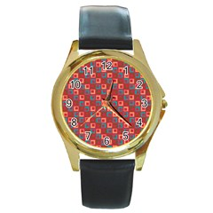 Retro Round Leather Watch (gold Rim)  by Siebenhuehner