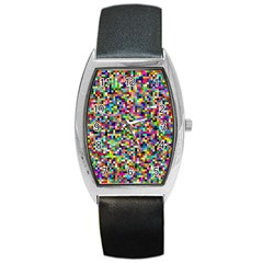 Color Tonneau Leather Watch by Siebenhuehner