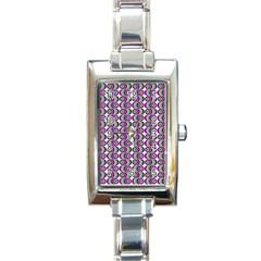 Retro Rectangular Italian Charm Watch by Siebenhuehner