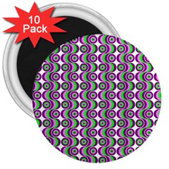Retro 3  Button Magnet (10 Pack) by Siebenhuehner