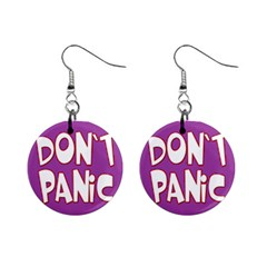 Purple Don t Panic Sign Mini Button Earrings by FunWithFibro