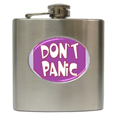 Purple Don t Panic Sign Hip Flask by FunWithFibro