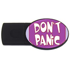 Purple Don t Panic Sign 4gb Usb Flash Drive (oval) by FunWithFibro