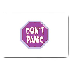 Purple Don t Panic Sign Large Door Mat by FunWithFibro