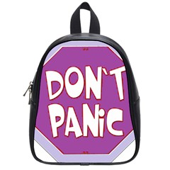 Purple Don t Panic Sign School Bag (small) by FunWithFibro