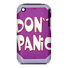 Purple Don t Panic Sign Apple Iphone 3g/3gs Hardshell Case (pc+silicone) by FunWithFibro