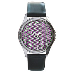 Pattern Round Leather Watch (silver Rim) by Siebenhuehner