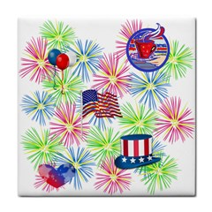 Patriot Fireworks Ceramic Tile by StuffOrSomething