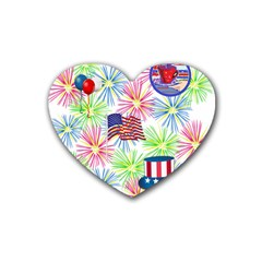 Patriot Fireworks Drink Coasters 4 Pack (heart)  by StuffOrSomething