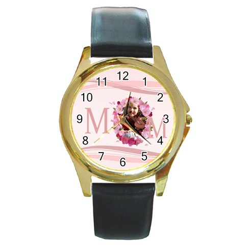 Mothers Day By Mom   Round Gold Metal Watch   43fmhhtt5e59   Www Artscow Com Front